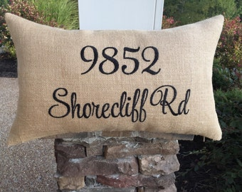 Burlap Pillow Cover, Address Pillow Covers, House Number Pillow, Zip Code Pillow, Personalized Pillow, Embroidered  Pillow