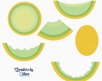 INSTANT DOWLOAD    Honeydew  Melon Clipart  Scrapbook for Personal and Commercial Use
