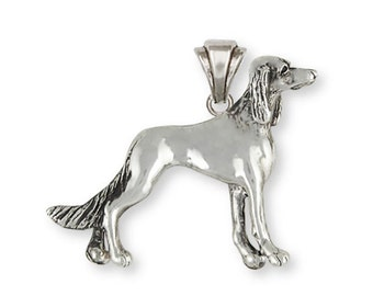 Personalized Solid Sterling Silver Saluki Dog Pendant Jewelry  SA4-NP