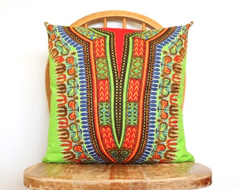 African Pillow Cover - Throw Pillow Cover - Decorative Pillow - Cushion Covers - Dashiki Pillow Cover - Lime Green Pillows
