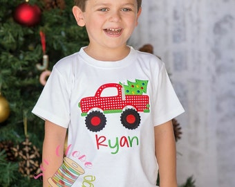 Boys Christmas Monster Truck Applique T-Shirt - Holiday Kids Personalized Shirts - Boy - Christmas Tree, Holiday Truck