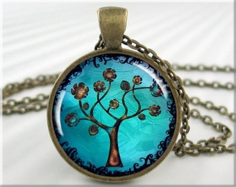 tree of life picture pendant necklace trees cabochon