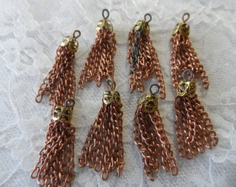 """Raw copper & brass tassels,1""""+,8pcs-KC401"""