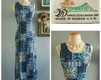 Blue Hawaiian tapa print sheath dress.