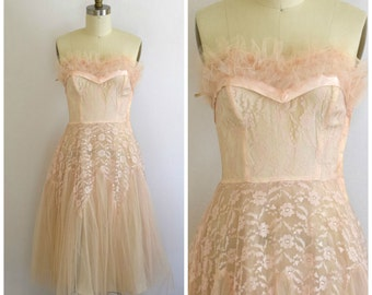 50s Prom Dress/ 1950s Party Dress/ Pink Crinoline Dress/ Formal Evening Dress/ Womens Size X Small