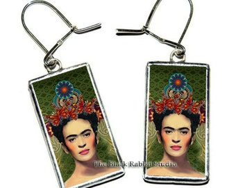 Frida Kahlo Earrings, Frida Kahlo Jewelry, Frida Kahlo glass earrings, Hypoallergenic Earrings
