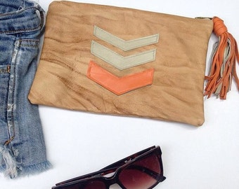Chevron leather clutch