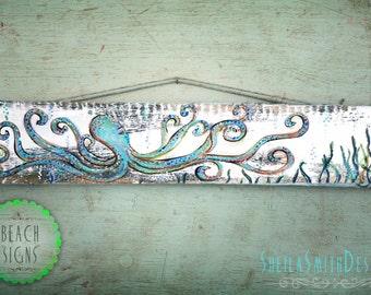 "Octopus, beach art, painted on barn wood sign, ""Octor the silly Octopus"", Beach House Decor"