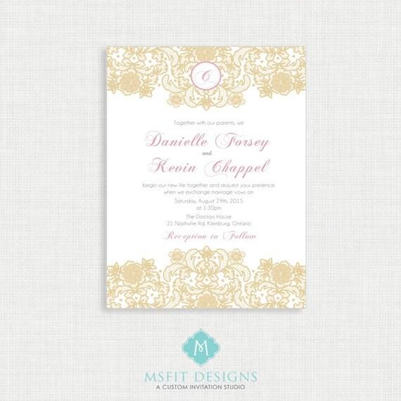 Gold and Blush Wedding invitation-Lace Wedding Invitation RSVP Card Included- Printable Invitation