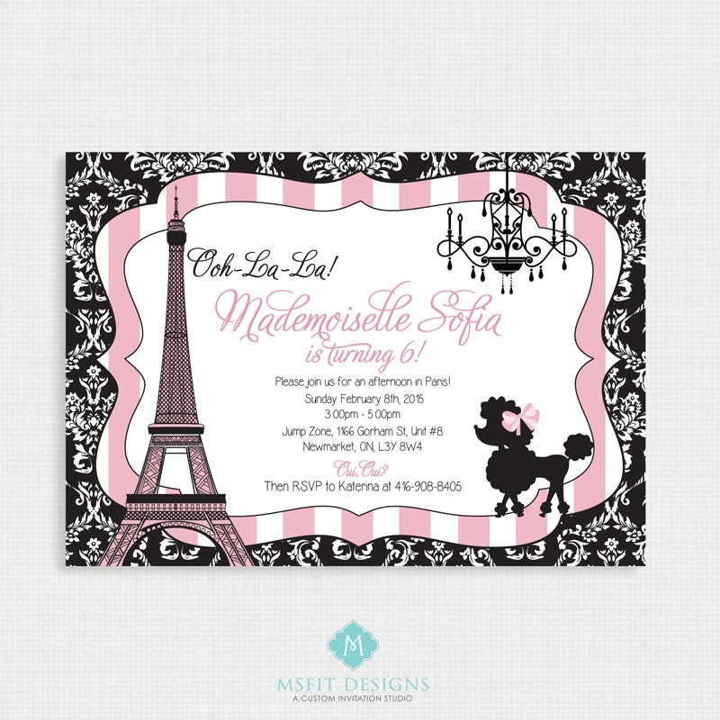 paris birthday invitation paris birthday party eiffel tower invitation paris themed party. Black Bedroom Furniture Sets. Home Design Ideas