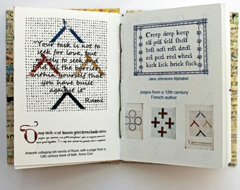 Fontasia , Artist book, Coptic stitch book, Handmade book , Illustrated Book, writer's gift, Book Art, Typography