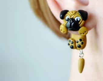 Pug plugs cute dog gauge Animal dangling gauges ear tunnels dangle ear plug dangle gauge 16g 12g 8g 6g 4g 2g 0g 00g 1/2 9/16 5/8 11/16 13/16