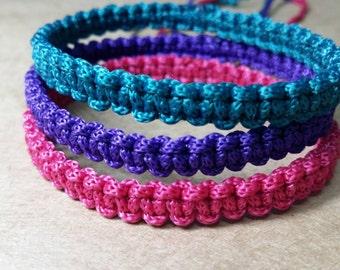 Thai Buddhist Braided Cotton Wristband Bracelet Monk Blessed Friendship Fair Trade Handmade adjustable