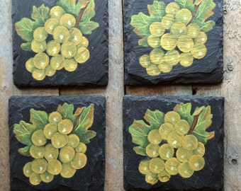Green Grapes and Wine Themed Coasters, Green Grapes Hand Painted on Slate Coasters