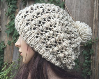 READY TO SHIP Oatmeal color Slouch Beanie,and Knit Winter , Adult, Teen Slouchy  Hat pompom,Hat , ivory color  Chunky  hat, women's hat