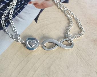 Infinity ankle bracelet, best friend bracelet, chain bracelet, silver tone bracelet, ankle  bracelet,love bracelet, love for ever bracelet,