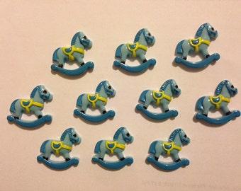 Lot of 5 Flatback Resins Embellishments Blue Rocking Horse Baby Shower NEW