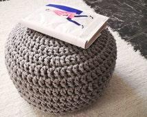 Grey Crochet Ottoman Pouf-Grey Nursery Footstool Pouf-Floor Cushion Nursery Decor-Kids Furniture Beanbag Chair- Baby Shower Gifts-Home Decor