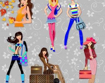 14 Fashion Girls Set 2 | Multicultural | Transparent Clipart Digital Images Instant Download