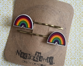 Rainbow Shrink Plastic Hair Grips