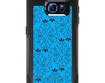 OtterBox Commuter for Galaxy S4 / S5 / S6 / S7 / S8 / S8+ / Note 4 5 8 - CUSTOM Monogram - Any Colors - Blue Black Floral Pattern