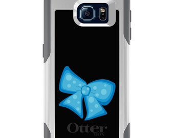 OtterBox Commuter for Galaxy S4 / S5 / S6 / S7 / S8 / S8+ / Note 4 5 8 - CUSTOM Monogram - Any Colors - Light Blue Black Bow Ribbon