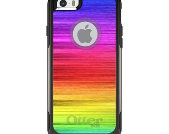 OtterBox Commuter for Apple iPhone 5S SE 5C 6 6S 7 8 PLUS X 10 - Custom Monogram - Any Colors - Rainbow Shimmering Lines