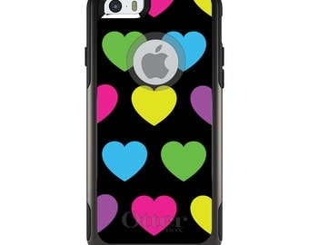 OtterBox Commuter for Apple iPhone 5S SE 5C 6 6S 7 8 PLUS X 10 - Custom Monogram - Any Colors - Black Multi Color Hearts