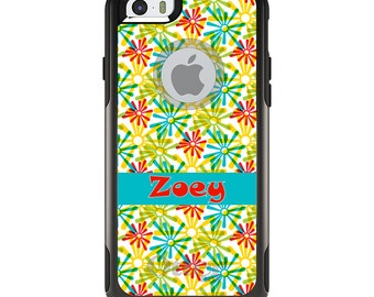 OtterBox Commuter for Apple iPhone 5S SE 5C 6 6S 7 8 PLUS X 10 - Custom Monogram or Image - Red Blue Yellow Green Burst