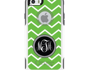 OtterBox Commuter for Apple iPhone 5S SE 5C 6 6S 7 8 PLUS X 10 - Custom Monogram or Image - Green White Chevron Initial
