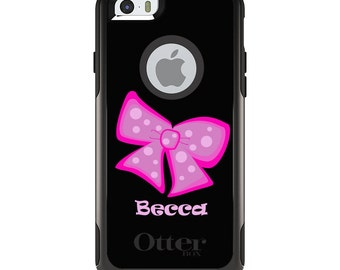 OtterBox Commuter for Apple iPhone 5S SE 5C 6 6S 7 8 PLUS X 10 - Custom Monogram or Image - Hot Pink Bow Ribbon Name