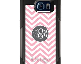 OtterBox Commuter for Galaxy S4 / S5 / S6 / S7 / S8 / S8+ / Note 4 5 8 - CUSTOM Monogram Name Initials - Pink White Grey Chevron Circle