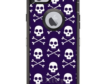 CUSTOM OtterBox Defender Case for Apple iPhone 6 6S 7 8 PLUS X 10 - Personalized Monogram - Purple White Skulls Pattern