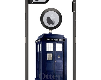 Custom OtterBox Defender Case for Apple iPhone 6 / 6S / 7 / PLUS - Personalized Monogram - TARDIS Police Call Box