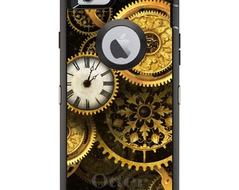 CUSTOM OtterBox Defender Case for Apple iPhone 6 6S 7 8 PLUS X 10 - Personalized Monogram - Clocks Clockwork Gold