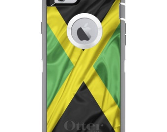 CUSTOM OtterBox Defender Case for Apple iPhone 6 6S 7 8 PLUS X 10 - Personalized Monogram - Jamaica Waving Flag
