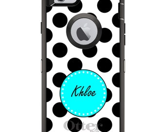CUSTOM OtterBox Defender Case for Apple iPhone 6 6S 7 8 PLUS X 10 - Personalized Monogram - Black White Blue Polka Dots