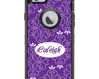 CUSTOM OtterBox Defender Case for Apple iPhone 6 6S 7 8 PLUS X 10 - Personalized Monogram - Purple White Floral Name