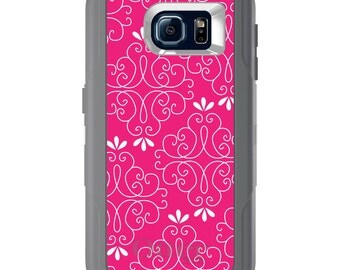 Custom OtterBox Defender for Galaxy S5 S6 S7 S8 S8+ Note 5 8 Any Color / Font - Neon Pink White Floral