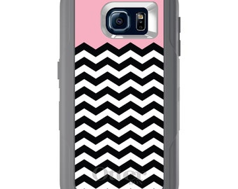 Custom OtterBox Defender for Galaxy S5 S6 S7 S8 S8+ Note 5 8 Any Color / Font - Black White Pink Chevron
