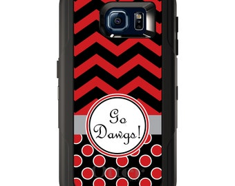 Custom OtterBox Defender for Galaxy S5 S6 S7 S8 S8+ Note 5 8 Any Color / Font - Red Black Go Dawgs