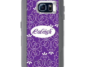 Custom OtterBox Defender for Galaxy S5 S6 S7 S8 S8+ Note 5 8 Any Color / Font - Purple White Floral Name