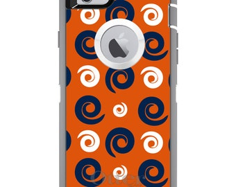 Custom OtterBox Defender Case for Apple iPhone 6 6S 7 8 PLUS X 10 - Monogram - Auburn University Tigers Colors - War Eagle - Swirls