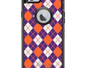 CUSTOM OtterBox Defender Case for Apple iPhone 6 6S 7 8 PLUS X 10 - Personalized Monogram - Clemson University Tigers Colors - Argyle