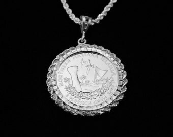Northern Mariana Islands Silver Drop w Matching SS Rope Chain