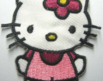 "Hello Kitty in Pink Overalls 2"" x 2"""