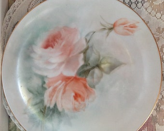 Sweet Plate Hand Painted Roses