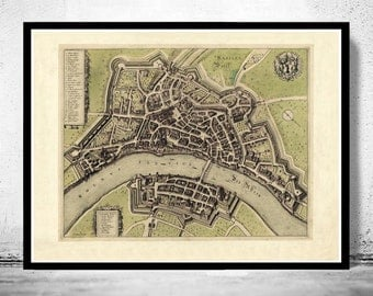 Old Map of Basel Basilea, Switzerland Suisse 1600