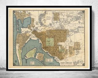 Old map San Diego California 1920