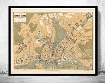 Old Map of Hamburg and Altona, Germany 1882